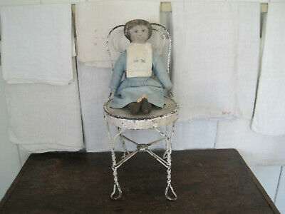 Old Primitive Child's Ice Cream Chair Old White Paint Metal with Wood Seat AAFA