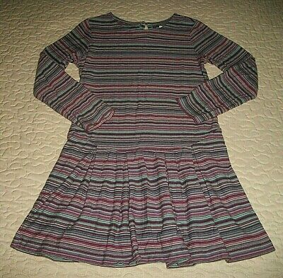 Tea Collection Teal/Burgundy./Red-striped L/S Dress - Size 6