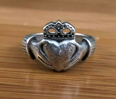 Vintage Sterling Silver Hands Holding Heart Crown Ring 925 Size 9.5