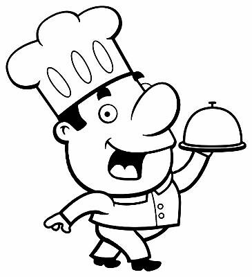 Chef Decal 8, Burger Van Stickers, Catering Trailer, Cafe, Catering 550 x 500mm