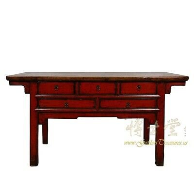 Antique Chinese Red Lacquered Console Table/Sideboard