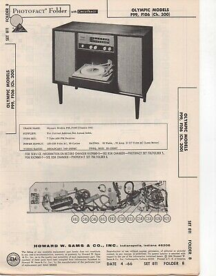 1966 Olympic F99 F106 Radio Record Player Changer Amp Service Manual Photofact