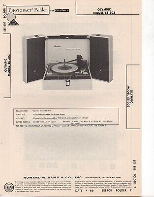 1966 Olympic Ss-303 Record Player Changer Amp Service Manual Photofact Schematic