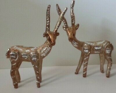 """Pair of DEER solid Hand Carved nicely white metal Figurine 8"""" tall"""