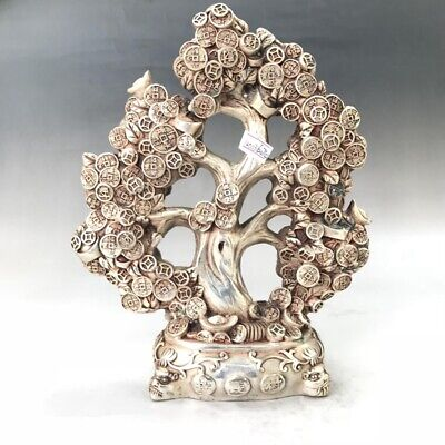 Chinese ancient Tibetan silver statue of pure hand-carved fine gold money tree