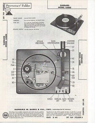 1965 Garrrard Lab80 Record Player Changer Service Manual Photofact Schematic Fix