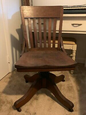Antique Vintage Wood Adjustable Swivel Tilt Office Library Banker Desk Chair