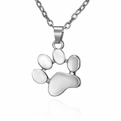 Charm Round Hollow Dog Paw Silver Plated Pendant Necklace Choker Women Jewelry