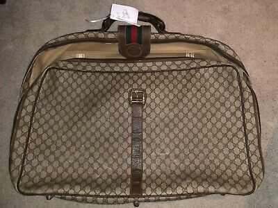 980cdfdfa06a1 AUTHENTIC VTG 80S GUCCI Monogram GG Travel Bag Luggage Suitcase ...