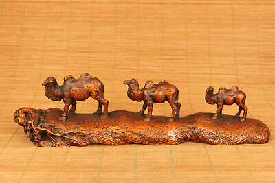 old boxwood three camels statue figure netsuke collectable table decoration