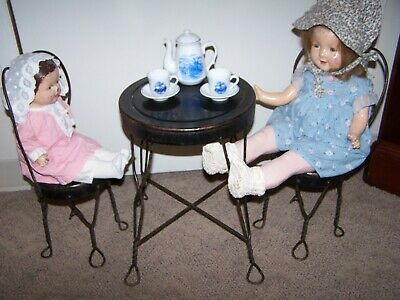 Old Vintage Pair of Ice Cream Drug Store Doll Size Metal Chairs & Matching Table