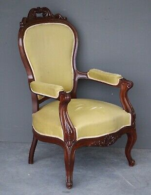 Antique carved French Louis fauteuil armchair rococo 1840 original bergere chair