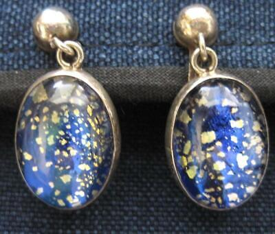 Mexican Sterling Silver Art Glass Overlay Cobalt Blue Foil Gold Flakes PRN Mark
