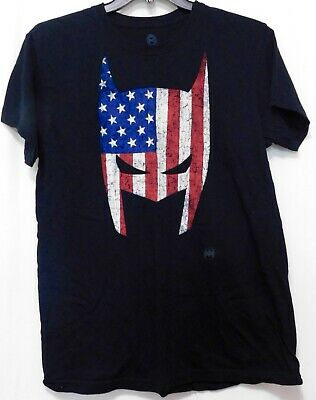 DC Comics BATMAN Patriotic Face Graphic Tee T Shirt L Flag Black