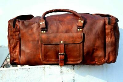 Vintage Large Genuine Leather Holdall Travel Weekend Cabin Sports Duffel Bag Tan