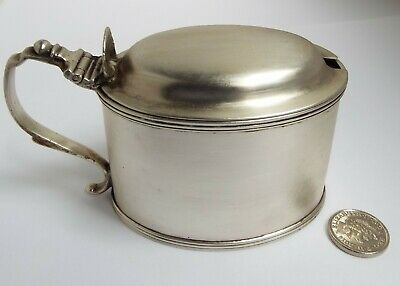 Handsome Large-Size Heavy English Antique 1879 Solid Sterling Silver Mustard Pot
