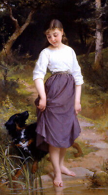 Oil painting Emile Munier - Testing the Water nice young girl beauty & dog pet