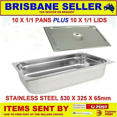 10 X 1/1 Gn Pans Bain Marie Pans Stainless Steel 65Mm With Lids  ** See Delivery
