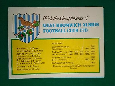 West Bromwich Albion football club autographs playing 1981-1982 brocheure