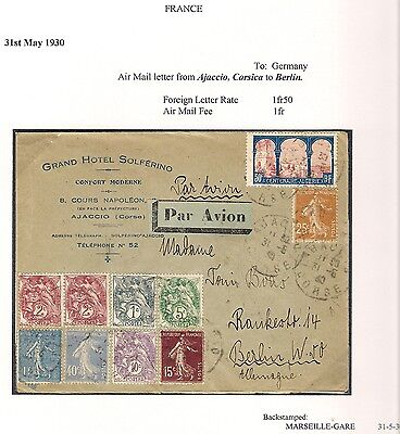 Grand Hotel Solferino Corsica Corse France 1930 Airmail Cover to Berlin Germany