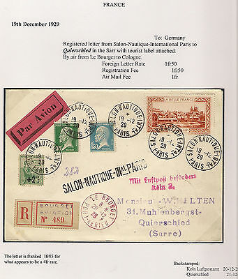 France SALON-NAUTIQUE 1929 BOURGET AVIATION Airmail SARRE SAARLAND Germany