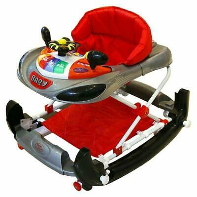 Baby Walker Rocker 2 In 1 Function Lights Music Adjustable Height Car Theme New