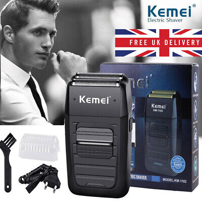 Men's Beard Electric Shaver Kemei Comfort Series Cordless Dual Foil Rechargeable