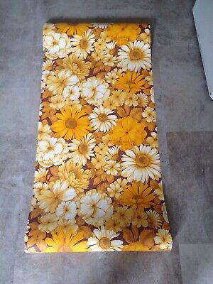 Vintage Retro Roll Of Funky Yellow& Brown Floral 70's Wallpaper