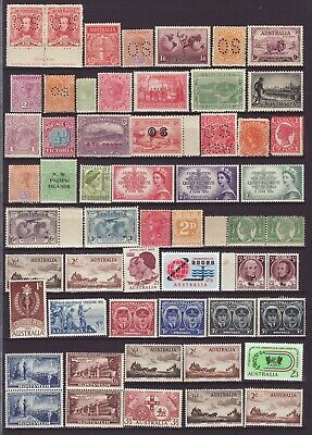 Mint Collection of Australian Pre Decimal Stamps on Album page