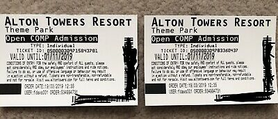 2 X Adult Tickets For Alton Towers Theme Park Valid Until 01/11/2019