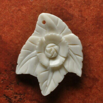 Hand Carved Flower 40X30X3Mm Natural Buffalo Bone Pendant Bead
