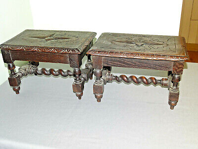 Antique  Country Stools X2 Dark Oak Rustic Barley Twist Victorian  Hand Carved