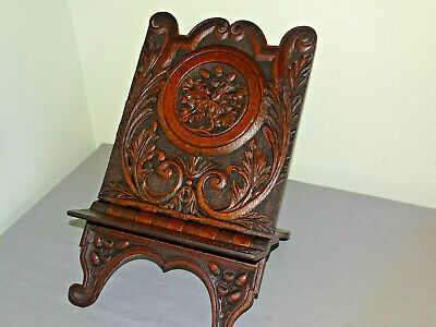Antique  Oak Book Stand Bible Stand Folding Country Rustic Hand Carved Victorian