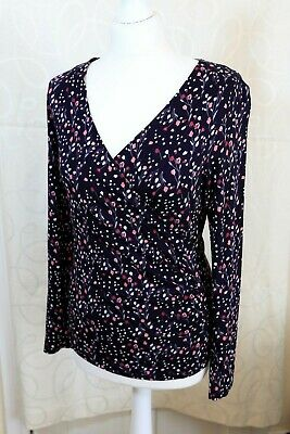 LAURA ASHLEY Ladies Size 10 Navy Pink Soft Stretchy Wrap Effect floral top