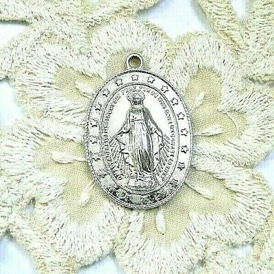 Rare Vintage Sterling Silver Miraculous Medal Encircled With Heaven's Stars