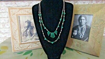 RARE VINTAGE NAVAJO MALACHITE STERLING SILVER NECKLACE 40,5grm.