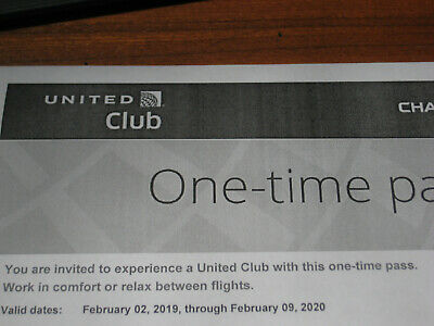 United Airlines Club one-time pass good through Feb 09, 2020