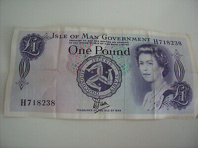 Old Isle of Man Manx Government £1 Banknote H718238  Circulated Used