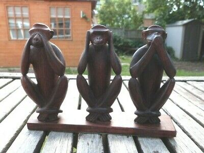 """Lovely Antique Vintage Carved Wooden Figurines """" Three Wise Monkeys"""""""