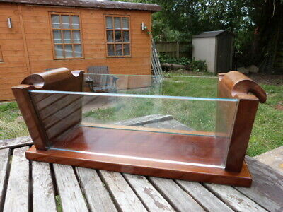 Stunning Antique Art Deco Mahogany & Glass Fruit Bowl Holder Centre Piece.