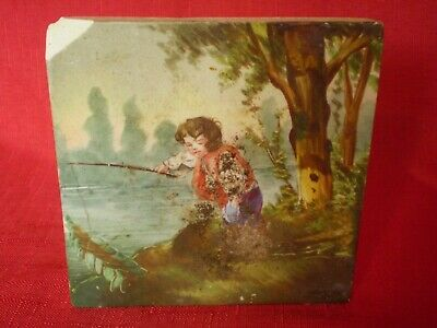 Stunning Antique Hand Painted Tile, Young Boy On Riverbank Fishing