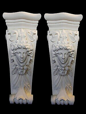 One pair of decorative white corbels brackets shelf supports french ornate style