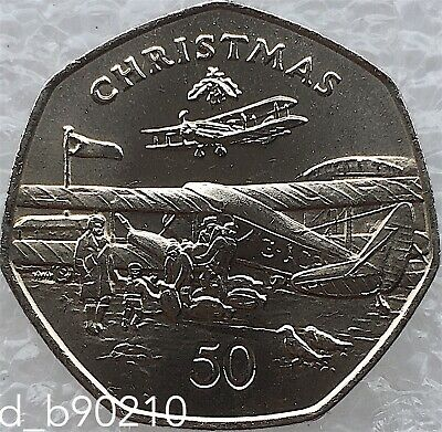 1985 Fifty Pence 50p De Havilands Plane Christmas Coin Isle Of Man Large Size AA