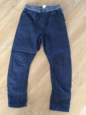 Boys Next Navy Lined Trousers, Ribbed Waist, Age 10 Years