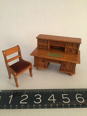 late 19th early 20th century German doll house DESK and chair