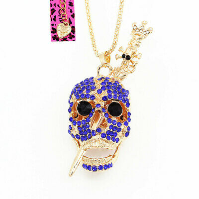 Betsey Johnson Royal Crystal Skull Head Sword Pendant Sweater Chain Necklace