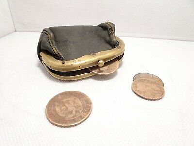 ☆ 4 Antique French (2nd Empire) Napoleon III 1855 Coin + Leather Wallet