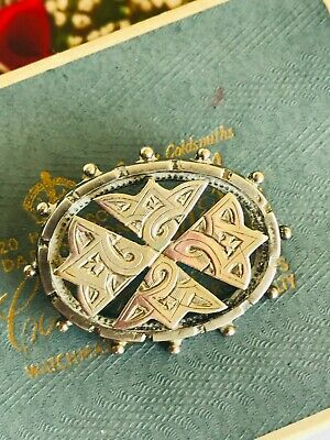 Antique Victorian Aesthetic Movement Silver Oval Brooch Pin