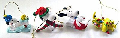 2002 Peanuts SNOOPY & WOODSTOCK FULL SET of 4 WHITMAN'S PVC CHRISTMAS ORNAMENTS