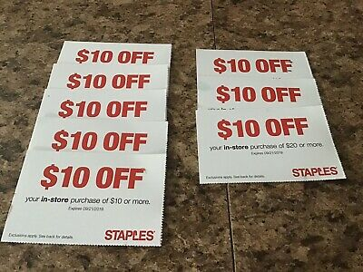 8~$10 Off Staples In Store Purchase Coupons~September 21, 2019